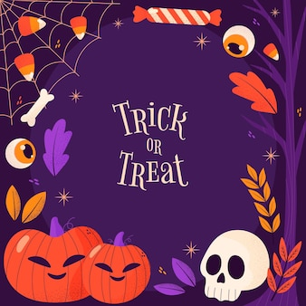 Hand getrokken trick or treat halloween frame