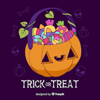 Hand getrokken trick or treat halloween tas collectie