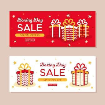 Hand getrokken tweede kerstdag banners sjabloon
