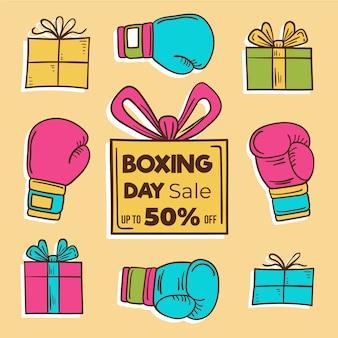 Hand getrokken tweede kerstdag verkoop concept