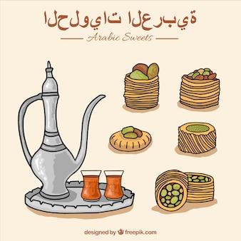 Hand getrokken typische arabische snoepjes met theepot