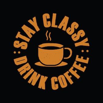 Hand getrokken typografie over koffie voor t-shirt