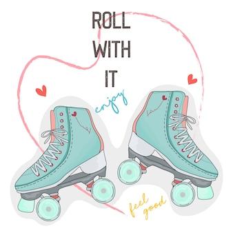 Hand getrokken typografie slogan met rolschaatsen