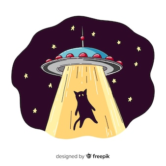 Hand getrokken ufo ontvoering concept