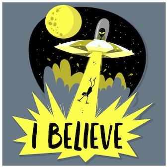 Hand getrokken ufo ontvoert mens. ruimteschip ufo lichtstraal in de nachtelijke hemel