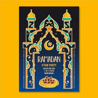 Hand getrokken uitnodigingssjabloon voor iftar