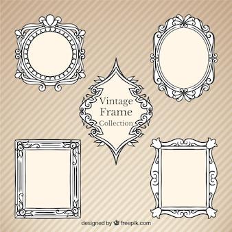 Hand getrokken uitstekende decoratieve frames