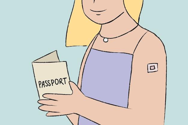 Hand getrokken vaccinatie paspoort vector vrouw karakter