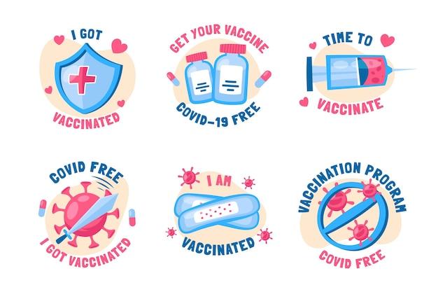Hand getrokken vaccinatiecampagne badge-collectie