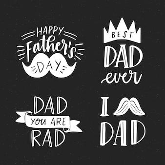 Hand getrokken vaderdag badges