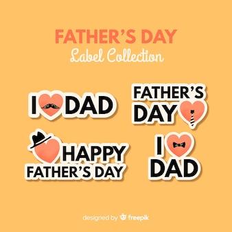 Hand getrokken vaders dag badge collectie