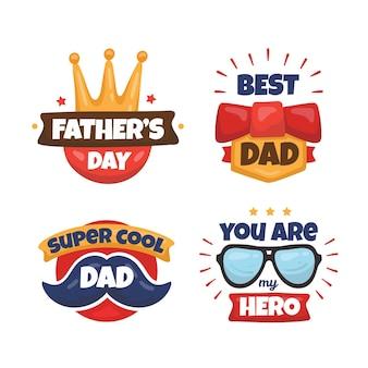 Hand getrokken vaders dag badges