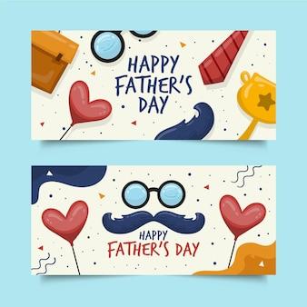 Hand getrokken vaders dag banners sjabloon