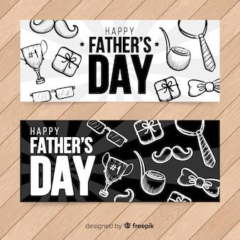 Hand getrokken vaders dag banners