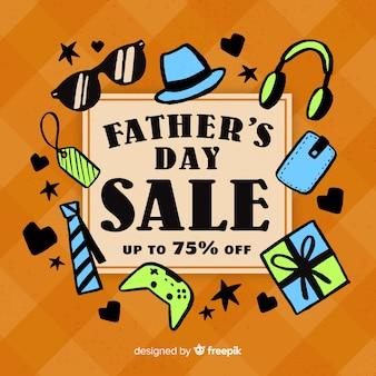 Hand getrokken vaders dag verkoop achtergrond