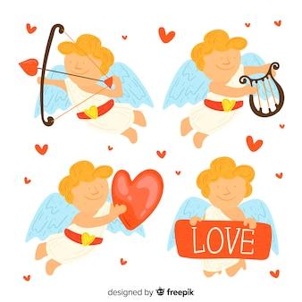Hand getrokken valentijn cupid-collectie