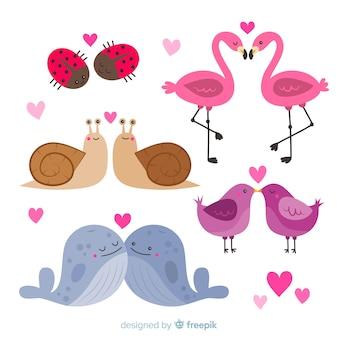 Hand getrokken valentijn dierlijk paar pack