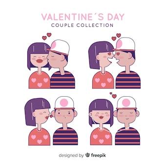 Hand getrokken valentijn paar pack