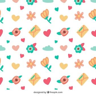 Hand getrokken valentijn patroon