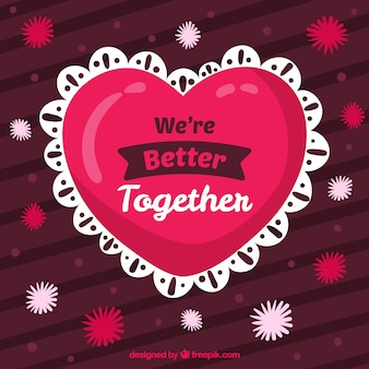 Hand getrokken valentijnsdag achtergrond met hart