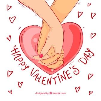 Hand getrokken valentijnsdag achtergrond met met elkaar verweven handen