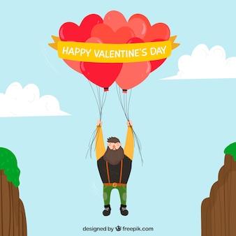 Hand getrokken valentijnsdag achtergrond met schattige illustratie
