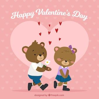 Hand getrokken valentijnsdag achtergrond met teddyberen
