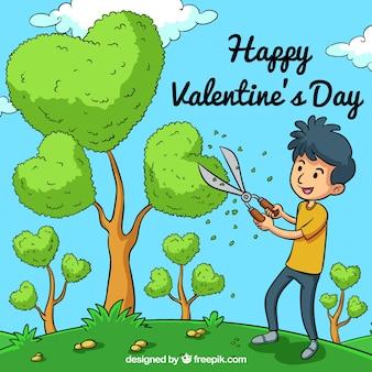 Hand getrokken valentijnsdag achtergrond