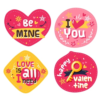 Hand getrokken valentijnsdag badge collectie