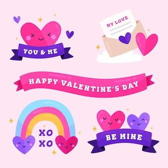 Hand getrokken valentijnsdag badge-collectie
