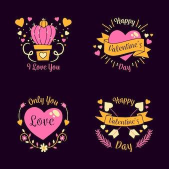 Hand getrokken valentijnsdag badges met linten