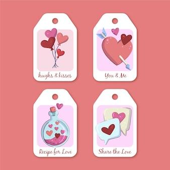Hand getrokken valentijnsdag badges