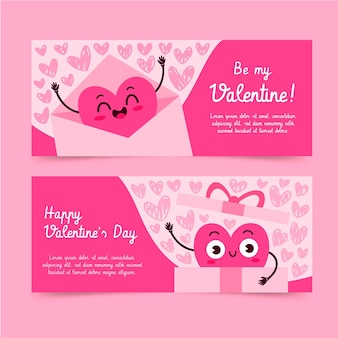 Hand getrokken valentijnsdag banners collectie
