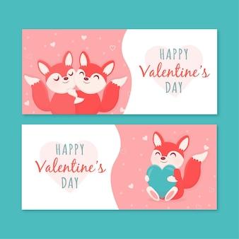 Hand getrokken valentijnsdag banners set