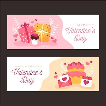 Hand getrokken valentijnsdag banners sjabloon