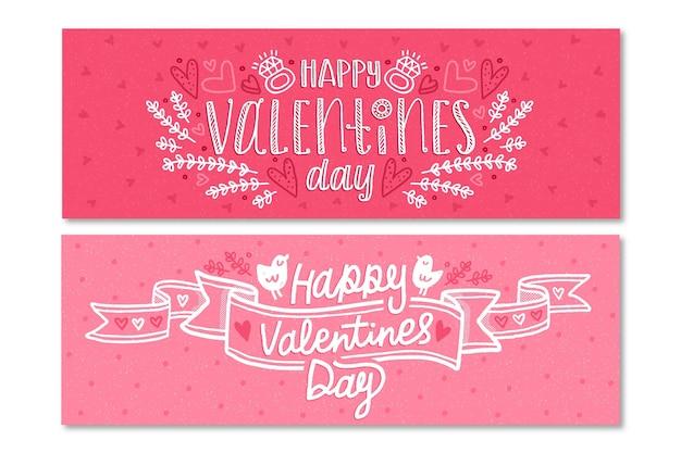 Hand getrokken valentijnsdag banners