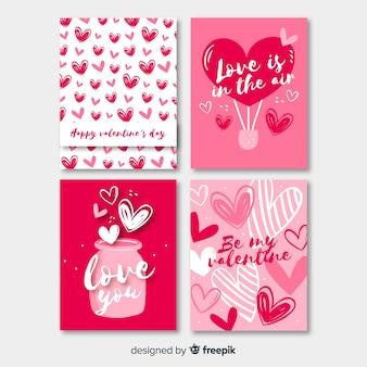 Hand getrokken valentijnsdag kaarten instellen