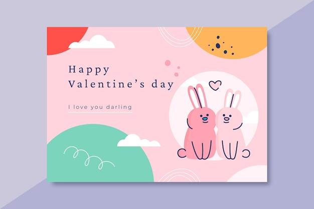Hand getrokken valentijnsdag kaartsjabloon