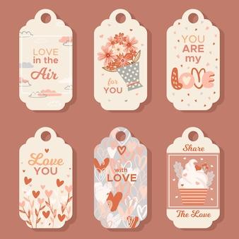 Hand getrokken valentijnsdag label set