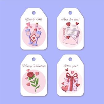 Hand getrokken valentijnsdag labels