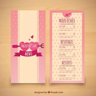 Hand getrokken valentijnsdag menu
