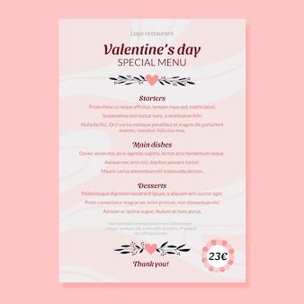 Hand getrokken valentijnsdag menusjabloon