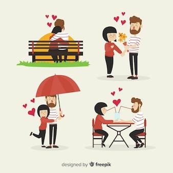 Hand getrokken valentijnsdag paar activiteiten pack