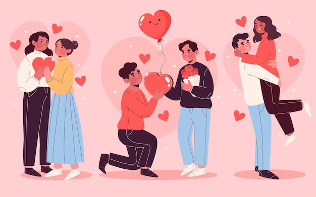 Hand getrokken valentijnsdag paar set