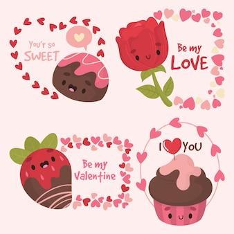 Hand getrokken valentijnsdag partij badge sjabloon