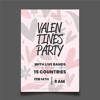 Hand getrokken valentijnsdag partij flyer / poster sjabloon