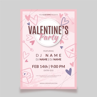 Hand getrokken valentijnsdag partij flyer / poster