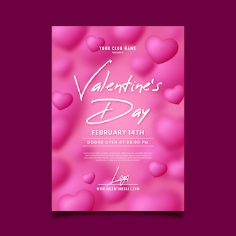 Hand getrokken valentijnsdag partij sjabloon folder