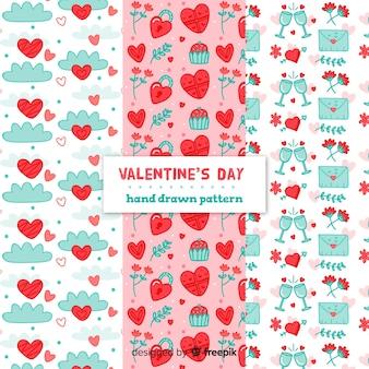 Hand getrokken valentijnsdag patronen