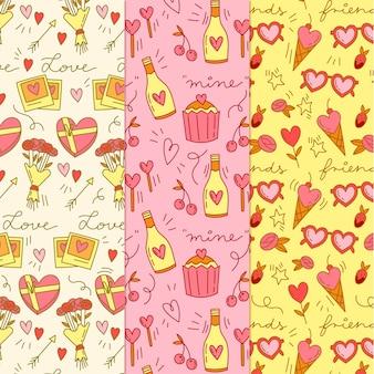 Hand getrokken valentijnsdag patroon collectie